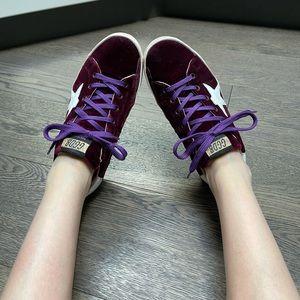 Golden Goose burgundy velvet sneakers